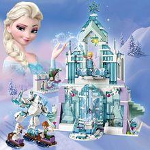 Nouveau Disney congelé 316 pièces Elsa Anna château de glace modèle poupée blocs de construction Playset figurine enfant jouet Compatible avec Legoings