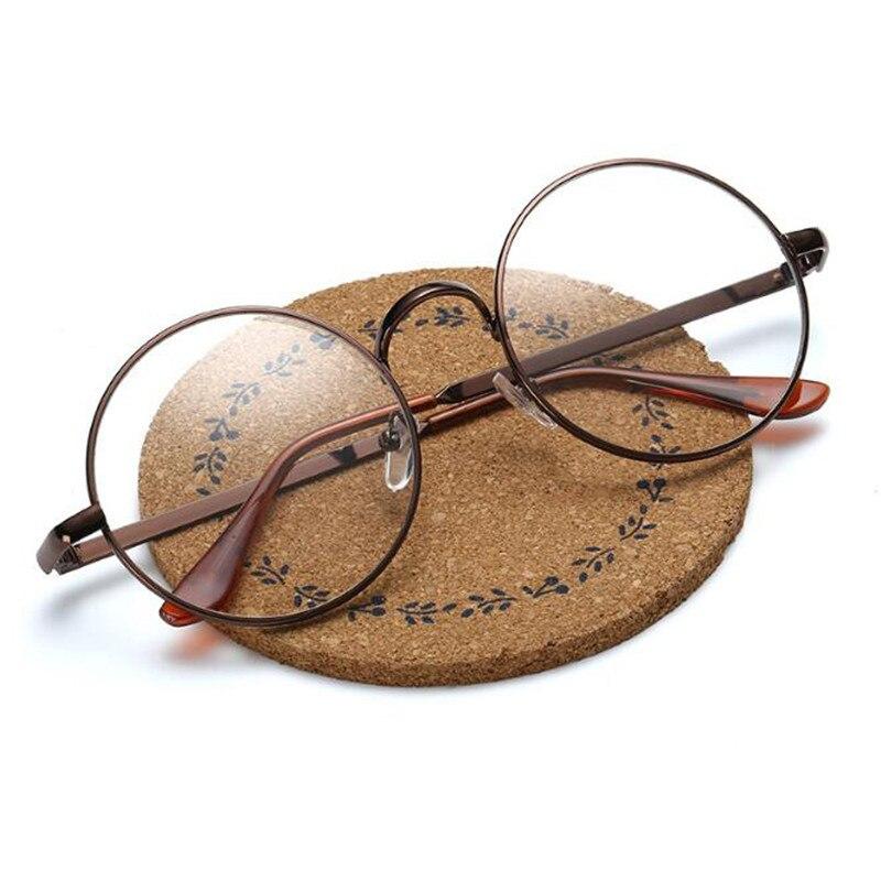 Clássico vintage redondo óculos de sol moda retro lente clara olho óculos de sol homens metal tons de vidro simples