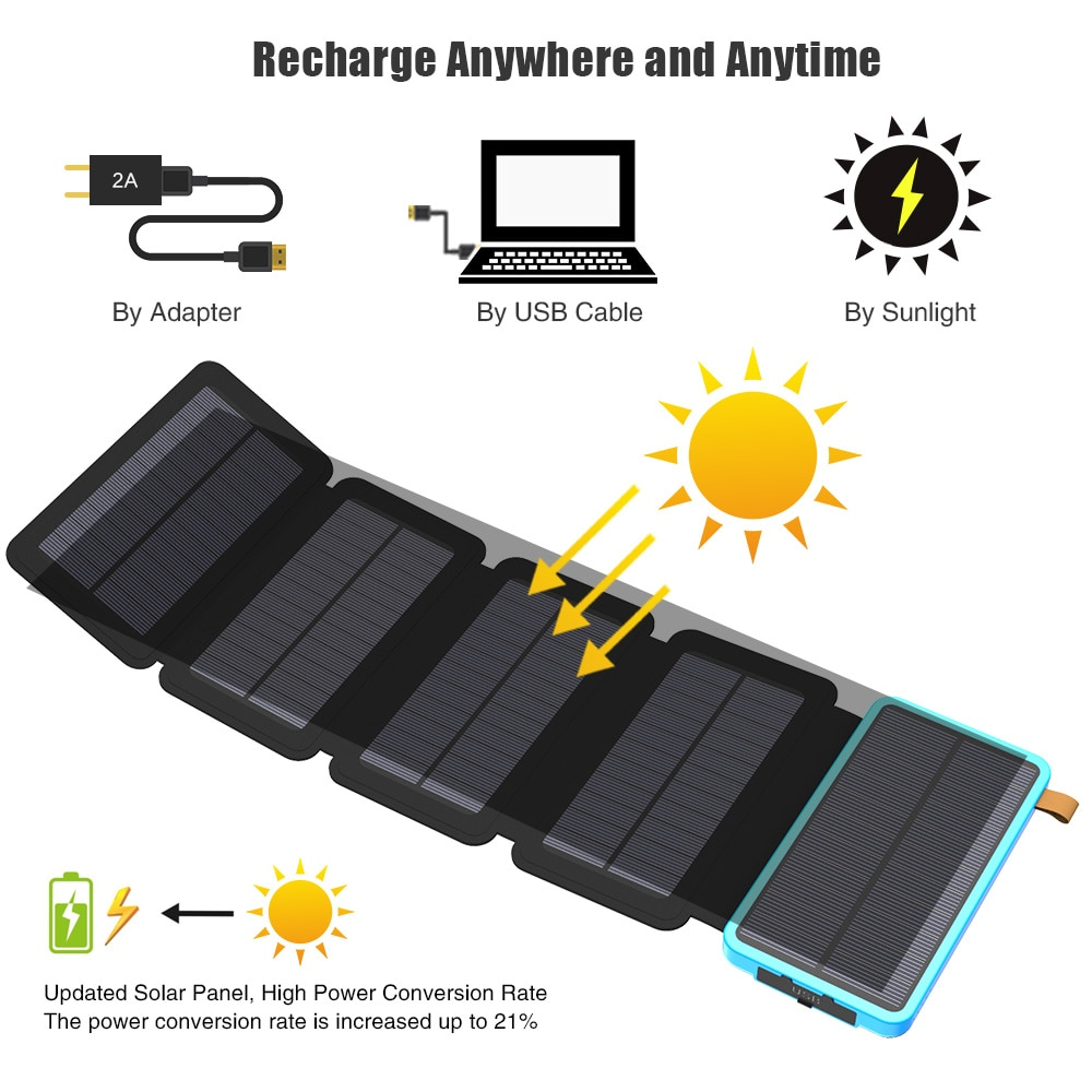 Solar Power Bank with 5 Pieces Solar Panel Charger Solar Phone External Battery Charger for iPhone 6 6s 7 8 plus X Xs Xr 11 12. oisle mini portable external battery charger battery case power bank for iphone x 11 7 8 6s xs 12 samsung s9 huawei p30 xiaomi 9