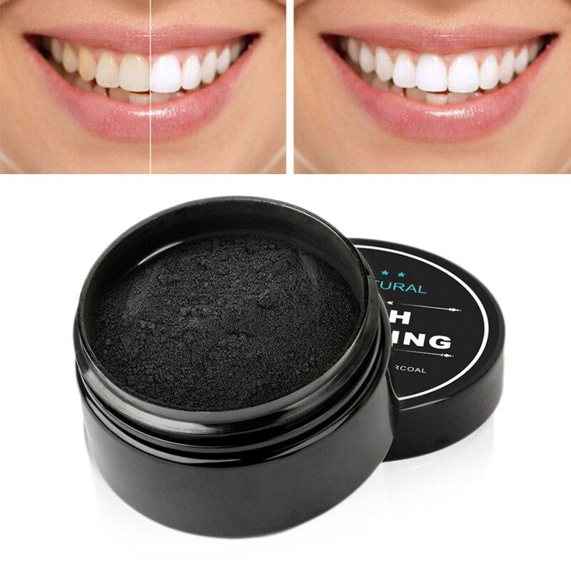 Dente em pó preto dente lavagem em pó manchas de tabaco carvão ativado casca de coco em pó de bambu carvão vegetal dentes branqueamento Caixas e sacos de carvão ativo    -