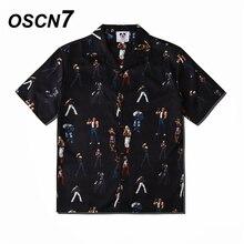 OSCN7 décontracté rue imprimé à manches courtes chemise hommes 2020 Hawaii plage surdimensionné femmes mode Harujuku chemises pour hommes CS110
