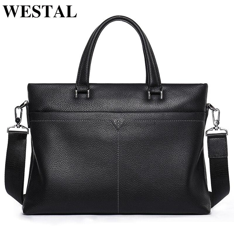 WESTAL Men's Briefcase Genuine Leather for 13.3 Inch Laptop Bag Office Bag for Men Business Briefcase Handbag Bag Men's Leather