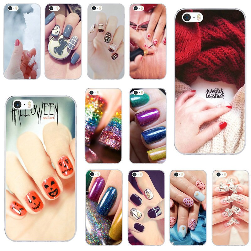 Suave TPU caja del teléfono móvil casos para iPhone X XR XS Max 10 7 6 6s 8 Plus 4 4S 5 5S SE 5C bolsas hermoso esmalte de uñas Color