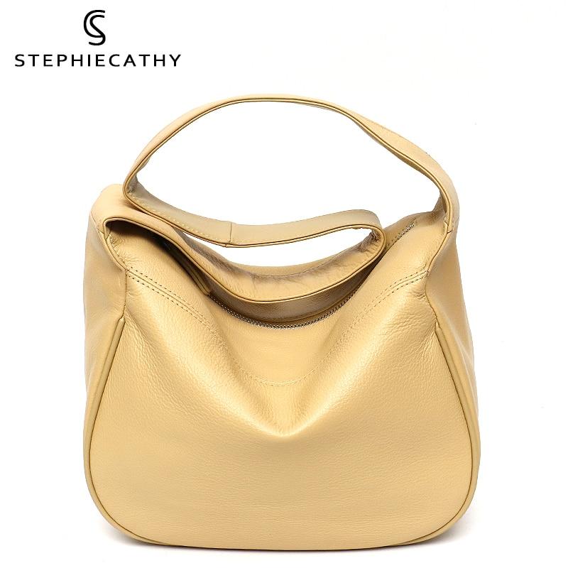 SC لينة جلد البقر حقائب كتف للنساء مصمم الأزياء واسعة حزام المتشرد حقيبة يد الإناث عادية بلون محفظة جلدية حقيقية