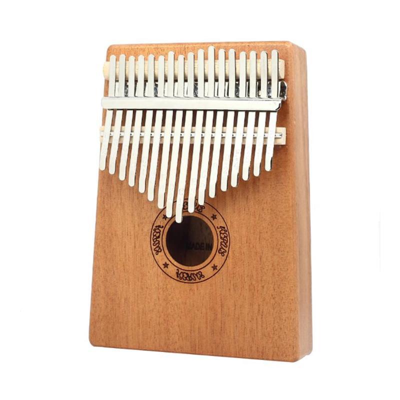 Piano de pulgar de 17 teclas, instrumento Musical de bebé de madera de caoba con libro de aprendizaje, afinador, martillo para niños principiantes, regalos de juguete