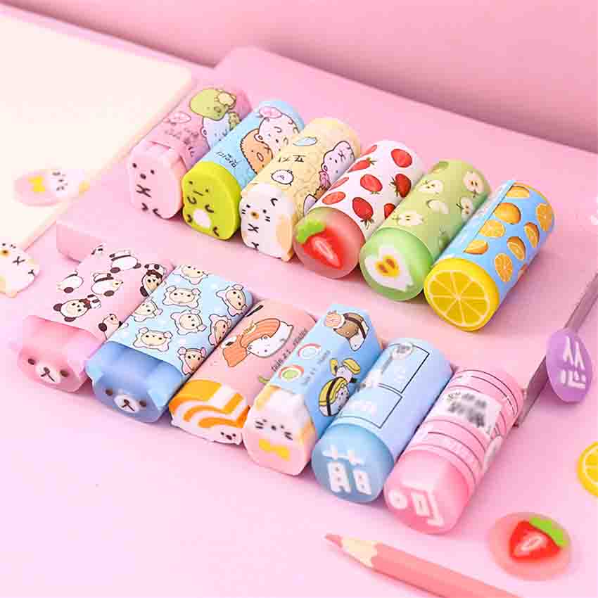 1PC Creative Colored Rubber Erasers Kawaii Food Bear Pencil Erasers For Kids Writing Drawing Eraser Office Stationery Supplies 3pcs set cat paw erasers kawaii stationery pencil cap erasers for kids correction tools pen topper eraser set school supplies