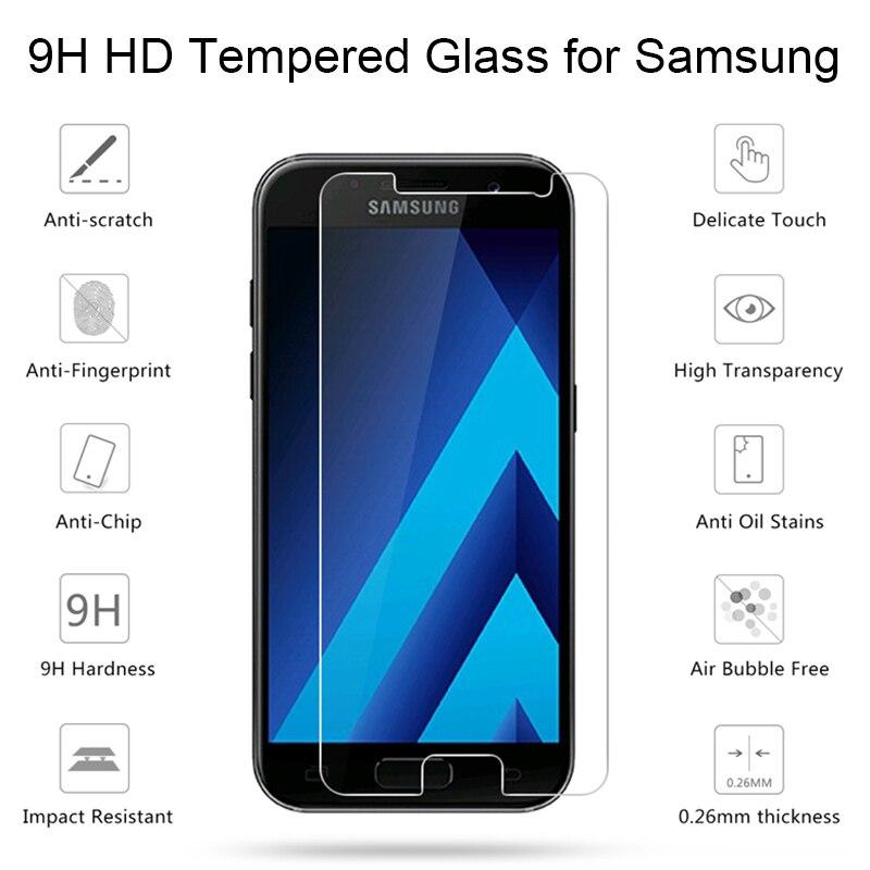 Película protectora de pantalla para Samsung A7 2018 A530F A730F, vidrio Protector para Galaxy A7, cristal templado para Samsung A3 2016 A5 2017