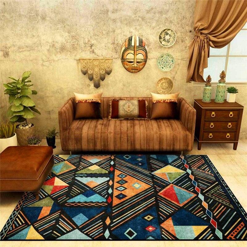 سجادة عصرية على الطراز البوهيمي والمغرب العرقي ، أزرق ، لغرفة النوم وغرفة المعيشة والمطبخ والحمام ، سجادة أرضية ، بطانية سرير