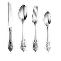 high end gold plating relief dinnerware 304 stainless steel food knife and fork spoon teaspoon set luxurious tableware