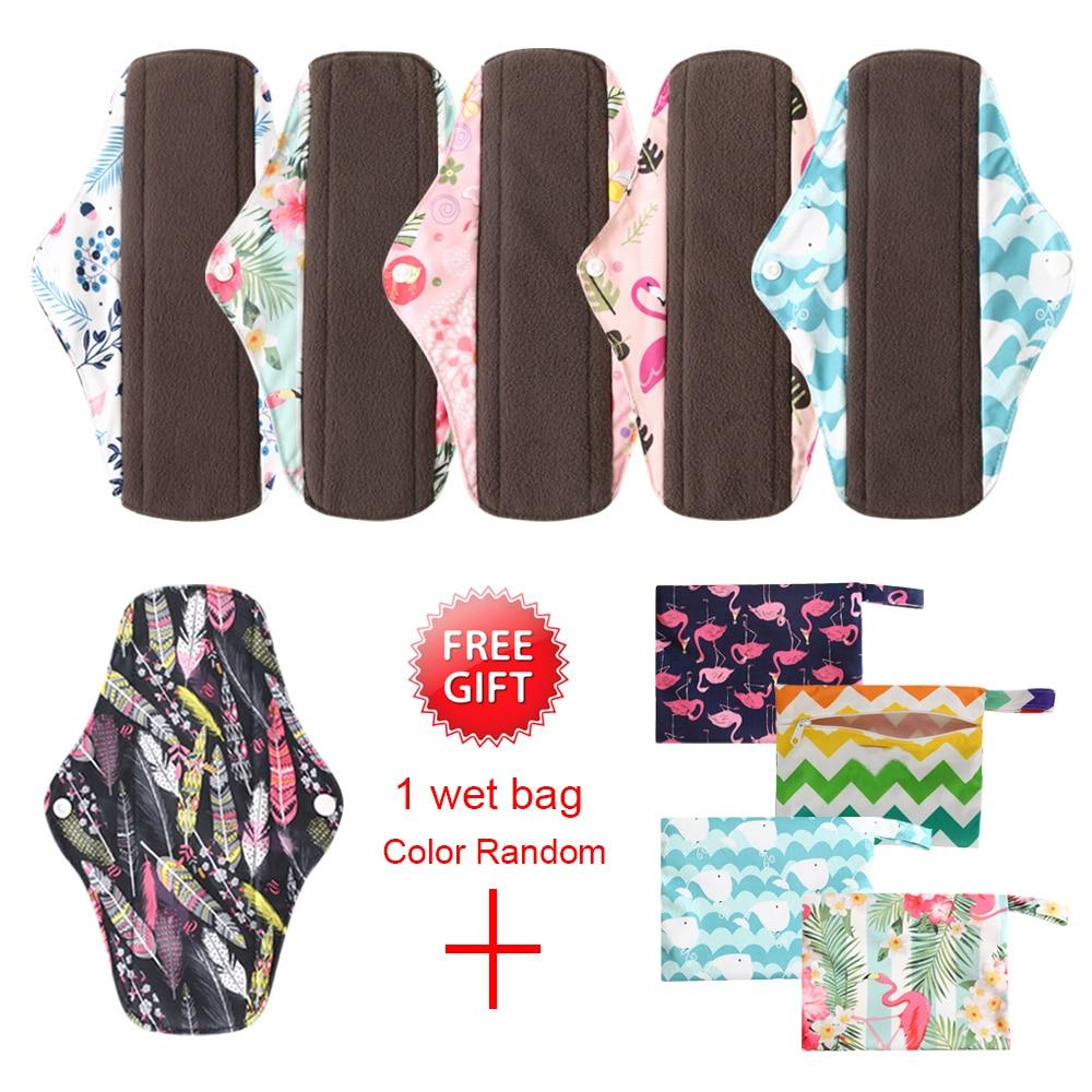 OhBabyKa Washable Panty Liner Menstrual Sanitary Maternity Mama Pads Bamboo Fiber Organic Reusable Overnight Cloth Pads 7pcs/set