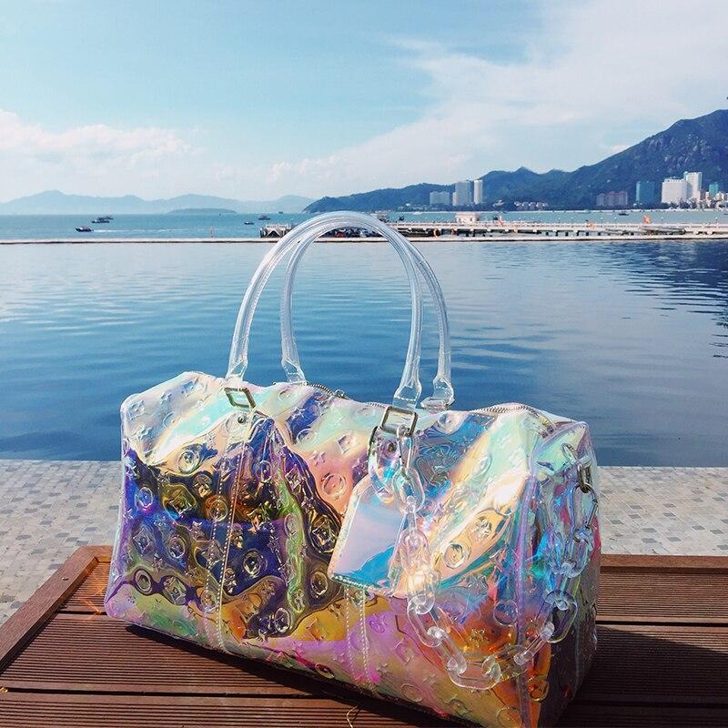 2021 Colorful Transparent Handbag Messenger Laser Bag Beach Travel Bag Duffel Bag Waterproof