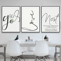 nordic letter lines minimalist simple style canvas print painting poster art wall pictures for living room home decor