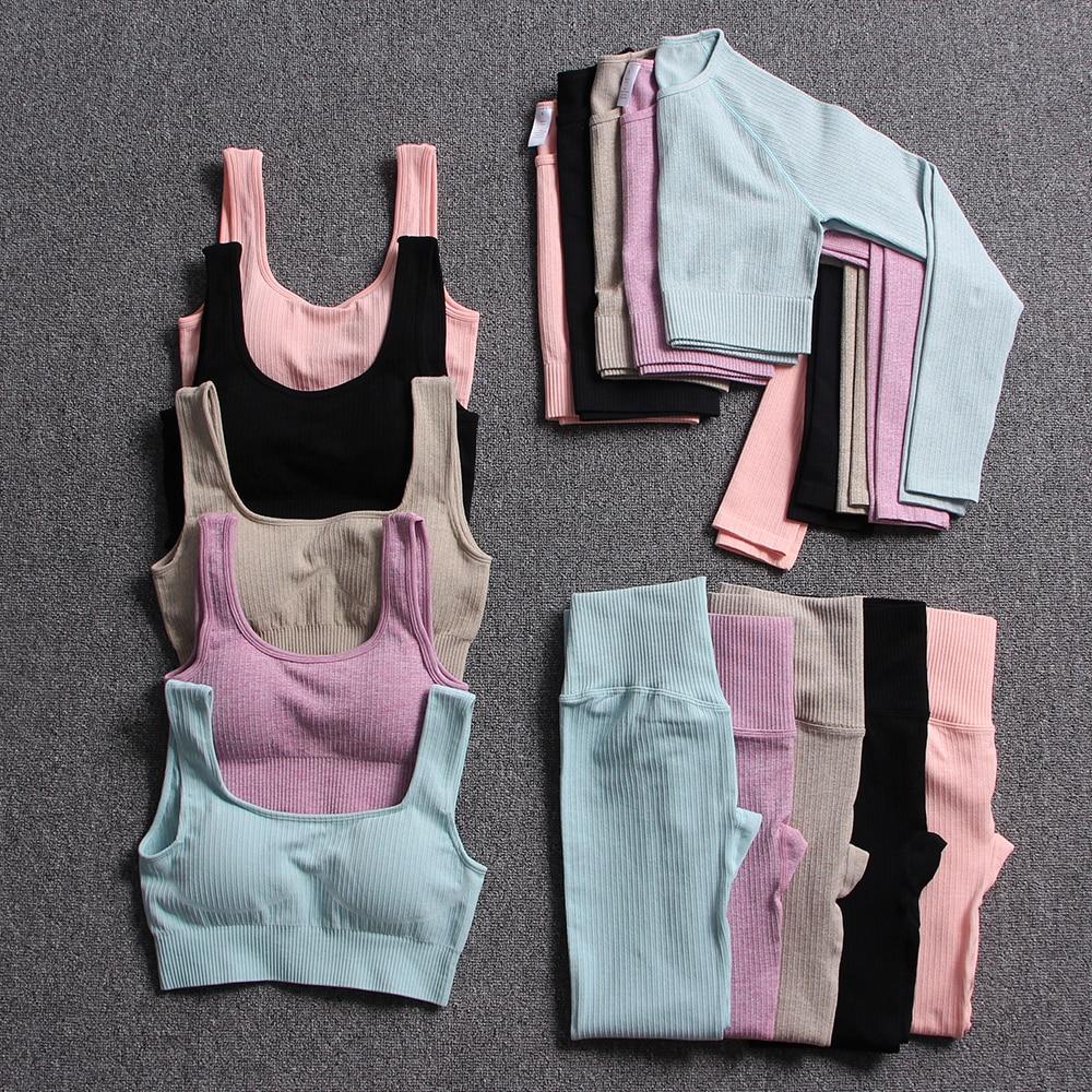 Seamless Women's Sportswear Yoga Set Workout Clothes Athletic Wear Sports Gym Legging Fitness Bra  T