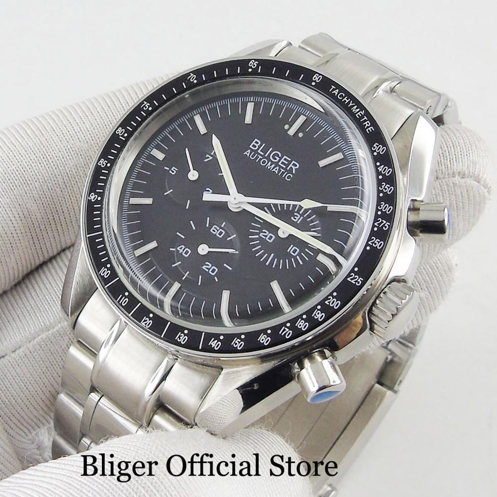 BLIGER Automatic Men's Watch Black Dial Metal Strap Weekday Date Indicator 40mm Watch Case Popular Wristwatch