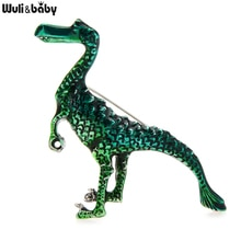 Wuli&baby Enamel Dragon Brooches For Women Unisex Jurassic Era Hadrosaur Dragon Animal Party Casual