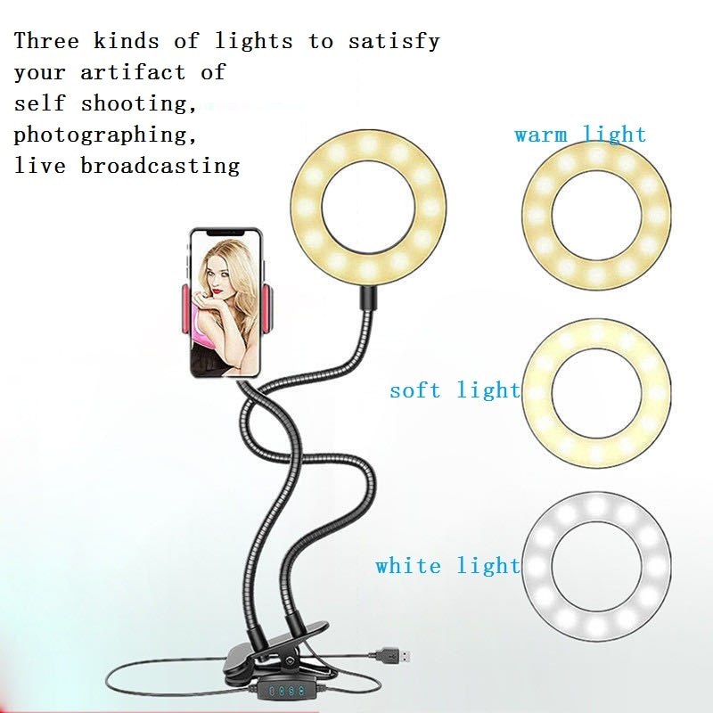 Long Arm Phone Selfie Holder 3 Mode Lights Ring Professional Flash Fill Light USB Clip Camera Adjustable Phone Stand Desk Lamp