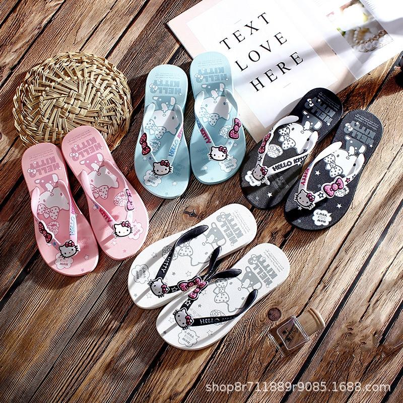 Chanclas Hello Kitty, casa de niña a la moda, ropa antideslizante para niños, encantadoras zapatillas de playa para padres y niños