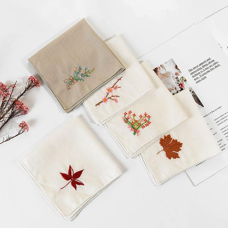 Lenço bordado kit bordado bordado bordado flor ponto cruz conjunto diy handwork balanço artesanal artesanato presente inacabado