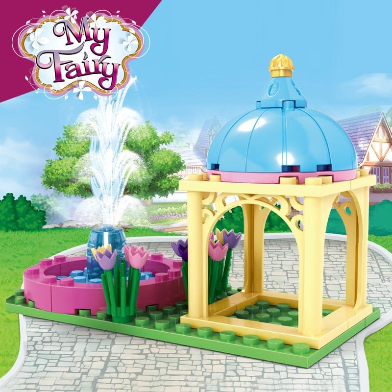 AUSINI Garden Fountain Building Blocks Friends Girls Mini Figures Creator City Toys for Children Plastic Kids Playthings Bricks