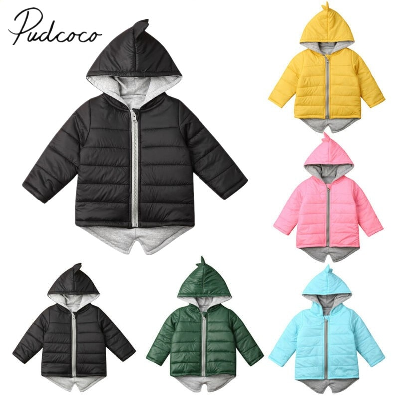 2019 inverno do bebê roupas quentes crianças meninos meninas dinossauro casaco com capuz jaqueta de inverno da criança grosso outwear sólido para baixo parkas