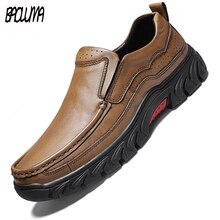 Brand Mens Casual Shoes Genuine Leather Mens Loafers Comfortable Breathable Mens Style Shoes Soft Bo