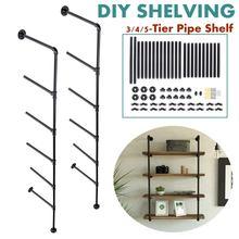 2 pièces 5 niveaux noir fer tuyau étagère meubles industriels étagère murale support décor à la maison suspendus étagères de rangement bricolage étagères de tuyau