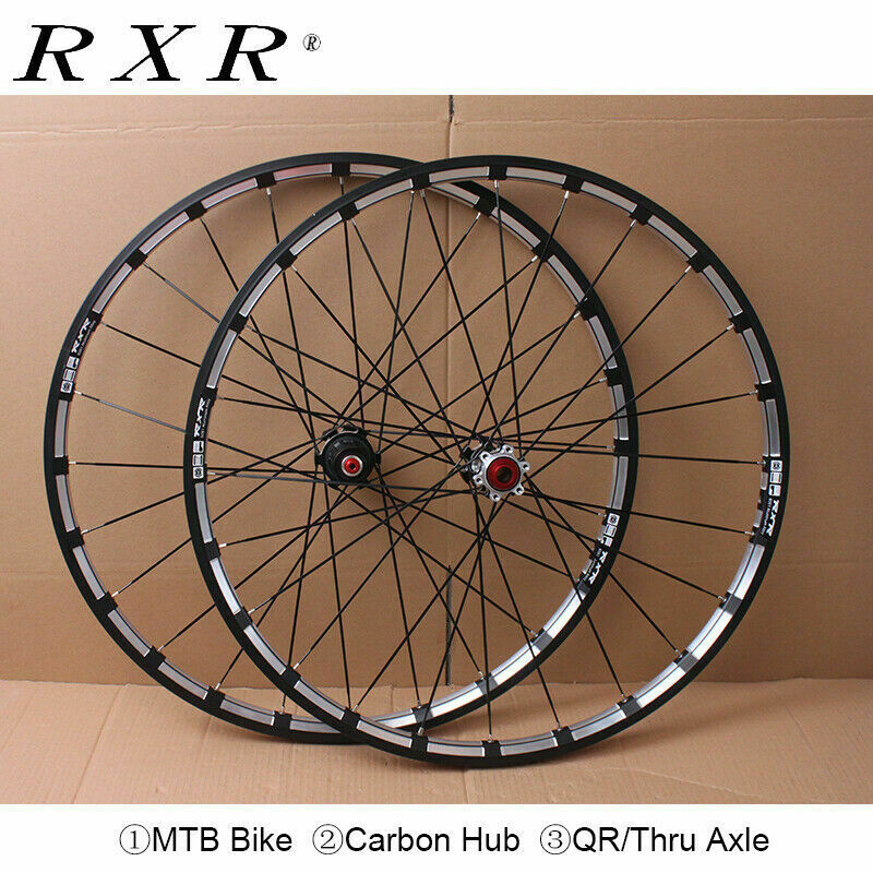 RXR-eje de carbón de 26/27 pulgadas, 5 rodamientos de freno de disco de ruedas de bicicleta de montaña, 7-11 velocidades, eje pasante/QR, ruedas de bicicleta de montaña, 5/29