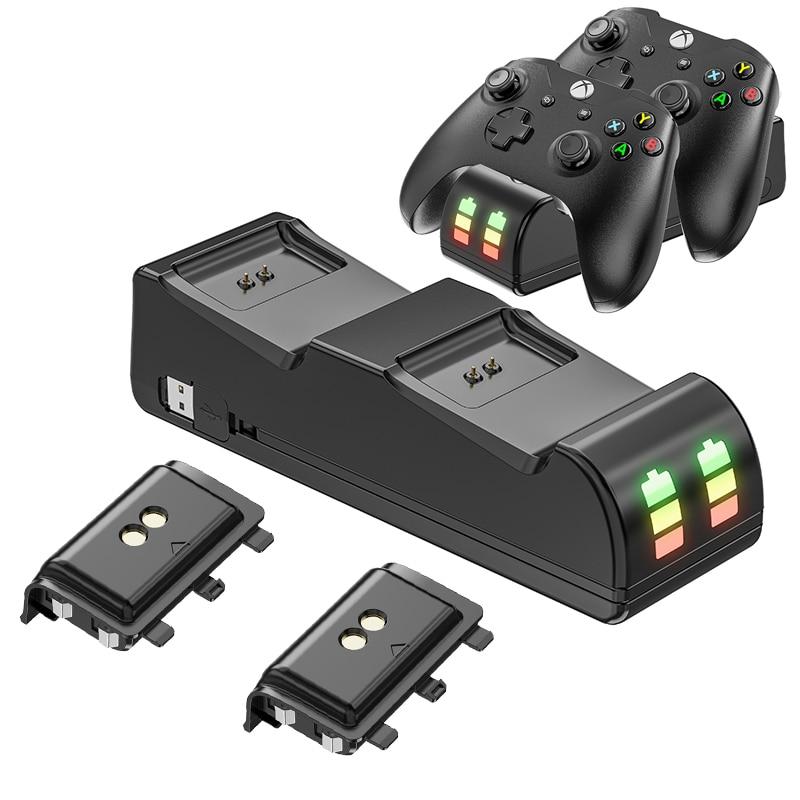 ل Xbox One/One S/One X تحكم شاحن بطارية حوض غمبد USB تهمة حامل و 2200mAh عالية السعة بطارية قابلة للشحن