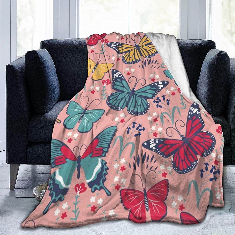 Tawetori الفراشات والزهور بطانية لينة رمي بطانية خفيفة الفانيلا بطانية الملكة حجم ل أريكة الأريكة السرير مكتب ترا