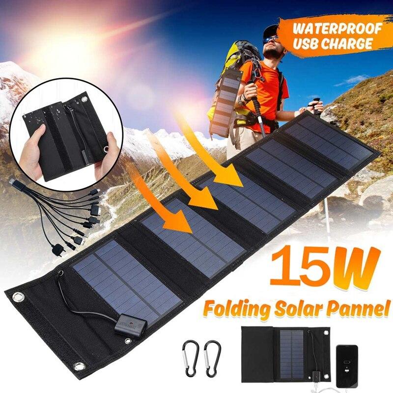 15 واط USB لوحة طاقة شمسية قابلة للطي قوة البنك في الهواء الطلق المشي لمسافات طويلة شاحن بطارية محمول USB الطاقة الشمسية خلية شاحن للتخييم