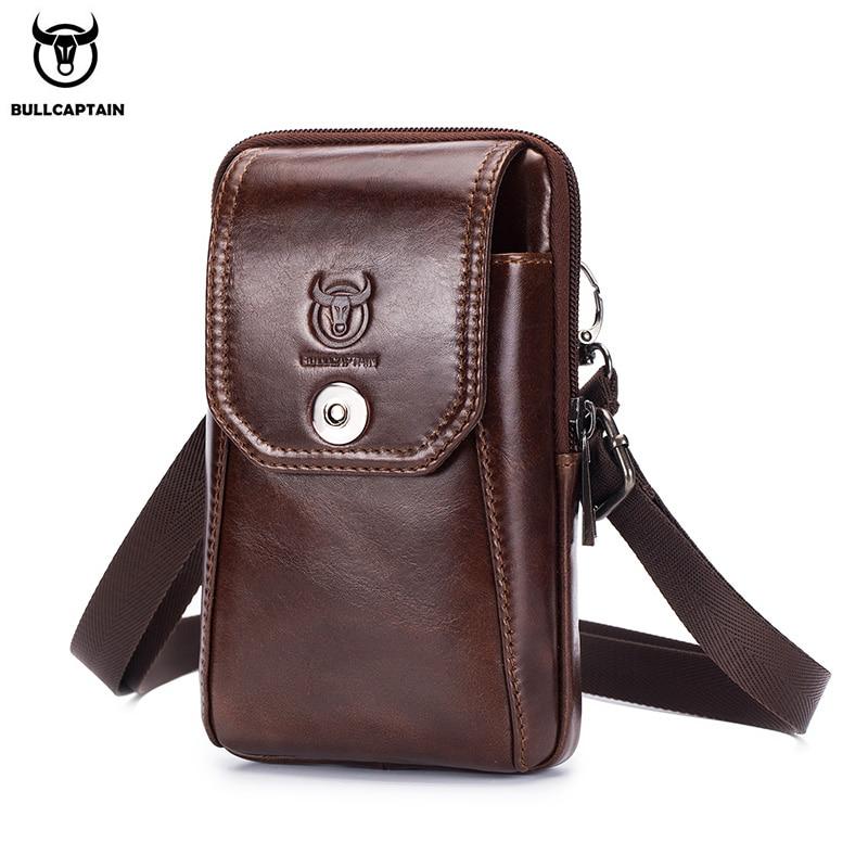 AliExpress - BULLCAPTAIN Genuine Leather Men's Waist Packs Phone Pouch Bags Waist Bag Male Small chest Shoulder Belt Bag small Waist Packs
