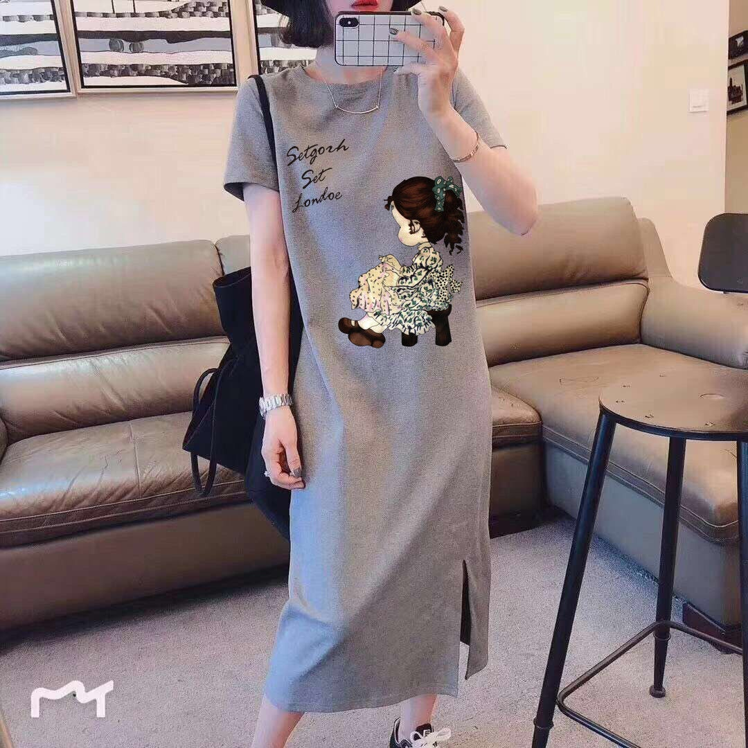 Korean Casual Slim Dresses For Plump Girl Loose Mid-Length Summer Short Sleeve Dress For Student You