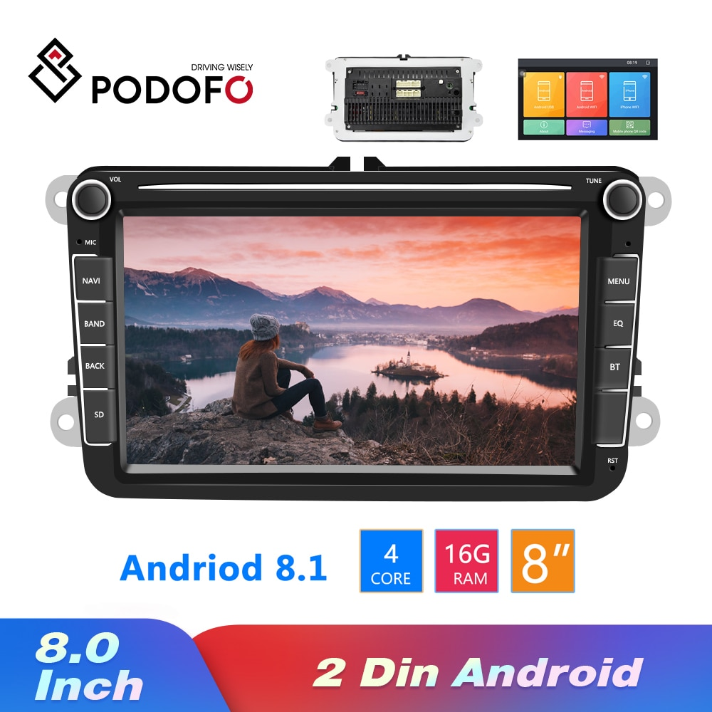 Podofo 2 din Android 8.1 Car Radios GPS Multimedia Player For VW/Volkswagen/Golf/Passat/b7/b6/Skoda/