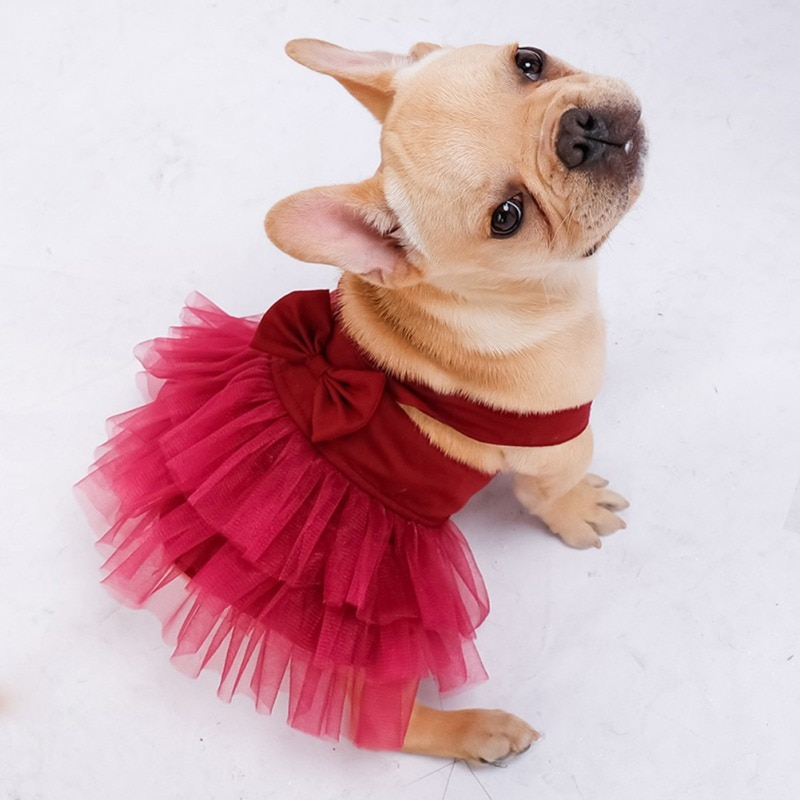 Summer Dog Dress Lace Tulle Dresses Birthday Party Wedding Cute Bowknot Dress Skirt Puppy Chihuahua Yorkshire Spring Pet Clothes