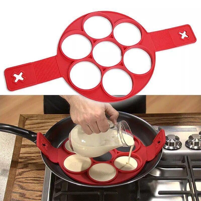 Cocina Pancake Maker molde de silicona hornear alfombra de moldes antiadherente de cocina herramienta de huevo para hornear cocina Pan accesorios de decoración pf9167