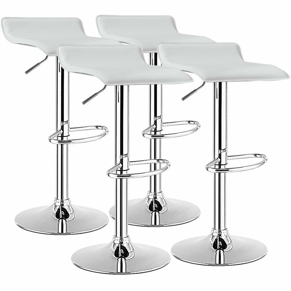 Set of 4 Swivel Bar Stool PU Leather Adjustable Kitchen Counter Chair