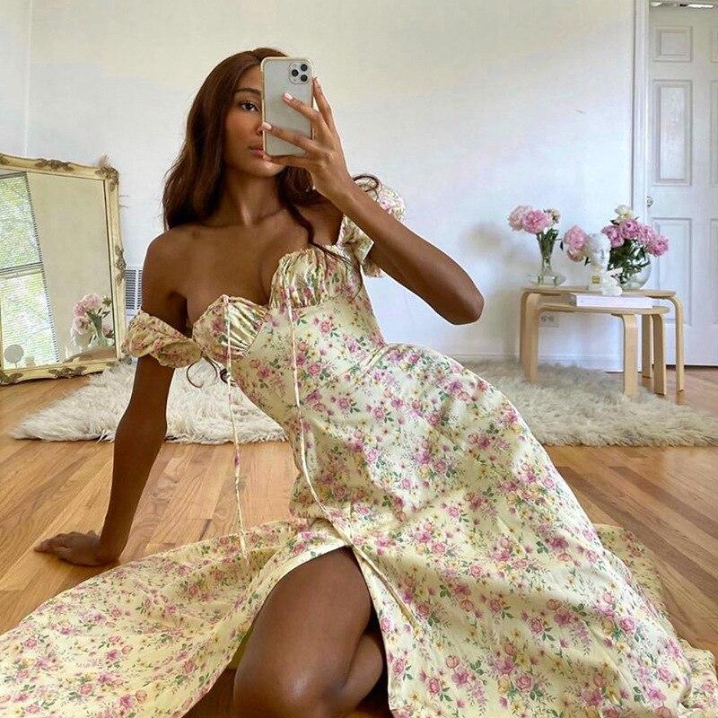 Townlike manga curta puff vestido floral feminino bandagem sem costas midi vestidos de verão rendas-up alta divisão vestido longo 2020