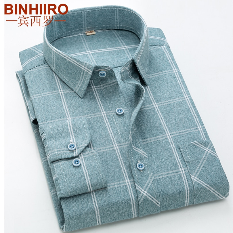 BINHIIRO Streetwear Mens Shirt Fashion Light grid Long Sleeve Shirt Slim 2020 Spring New Comfortable Brand Casual shirt Men