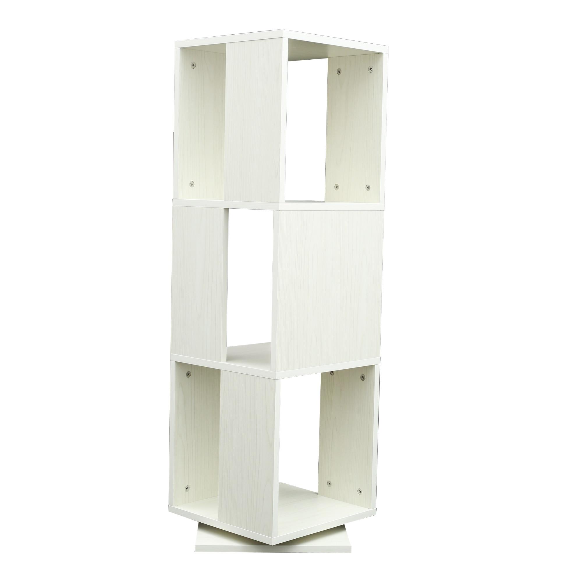 3 الطبقة خزانة خشبية الزاوية رف كتب طويل القامة الحديثة 360 درجة الدورية رف عرض المخزون الطابق الدائمة الجرف ث/فتح تصميم الأبيض