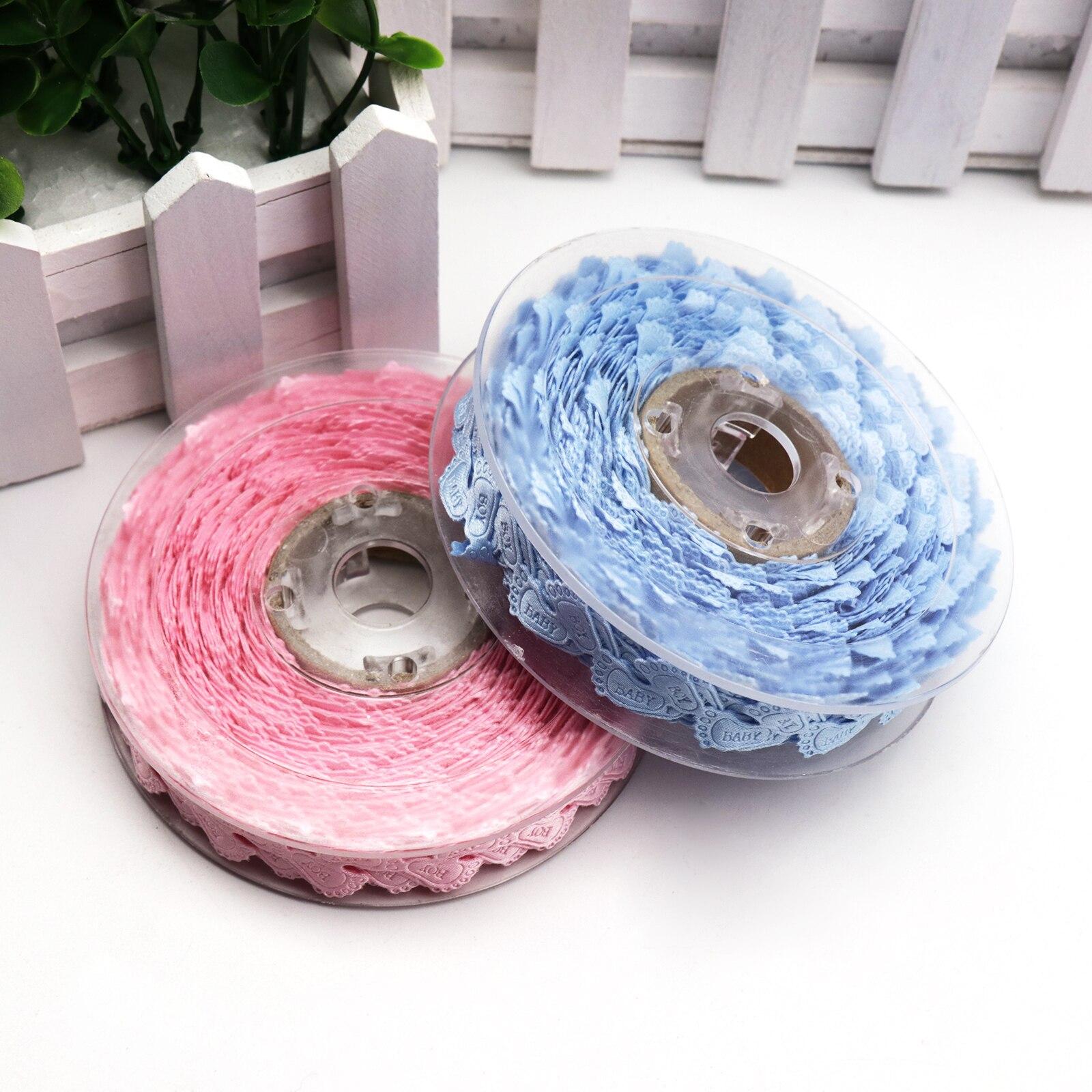 5 yardas/lote rosa azul PIE de bebé patrón cinta para ajuste, cordón para chico Baby Shower decoración de fiesta de cumpleaños regalo Craft envoltura de suministro