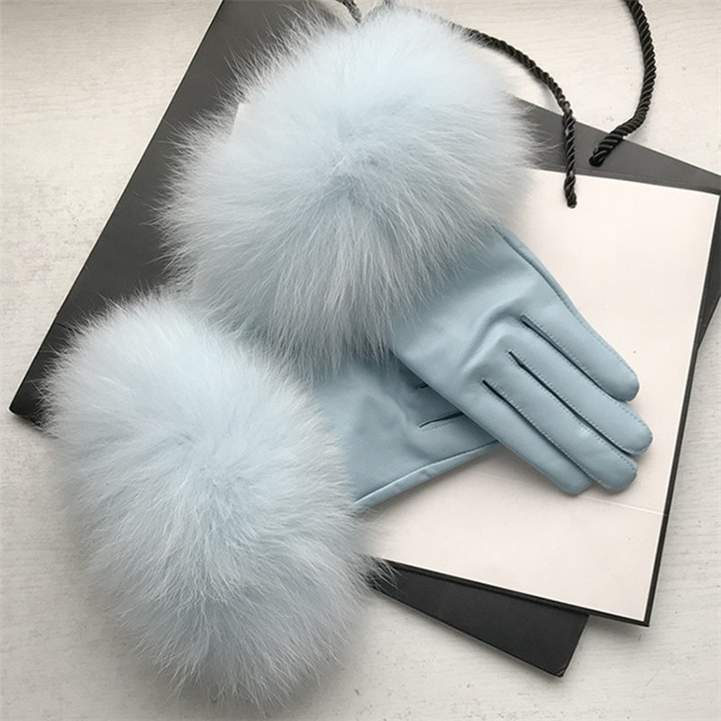 2020 New Arrival Genuine Leather Glove Real Sheepskin & Fox Fur Gloves Women's Fashion Style High Qu