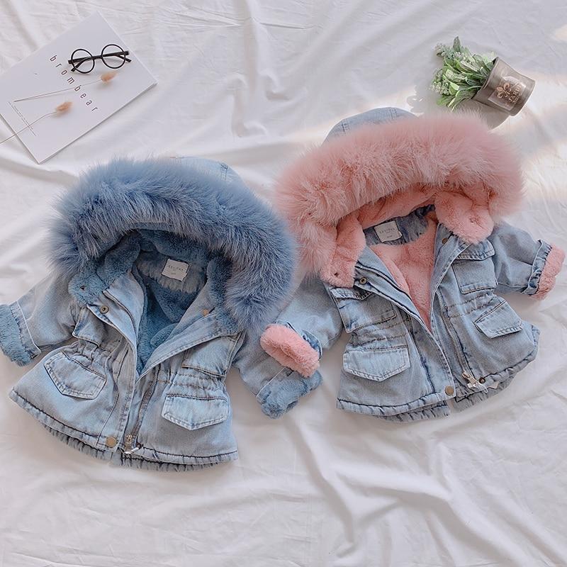OLEKID 2020 Winter Baby Girl Denim Jacket Plus Velvet Real Fur Warm Toddler Girl Outerwear Coat 1-5 Years Kids Infant Girl Parka