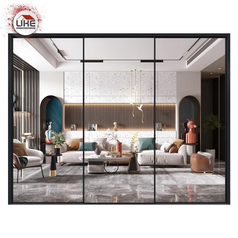 UKE Aluminium Sliding Door Frame Wardrobe Shower Glass Custom Made Linkage For Kitchen Cabinet