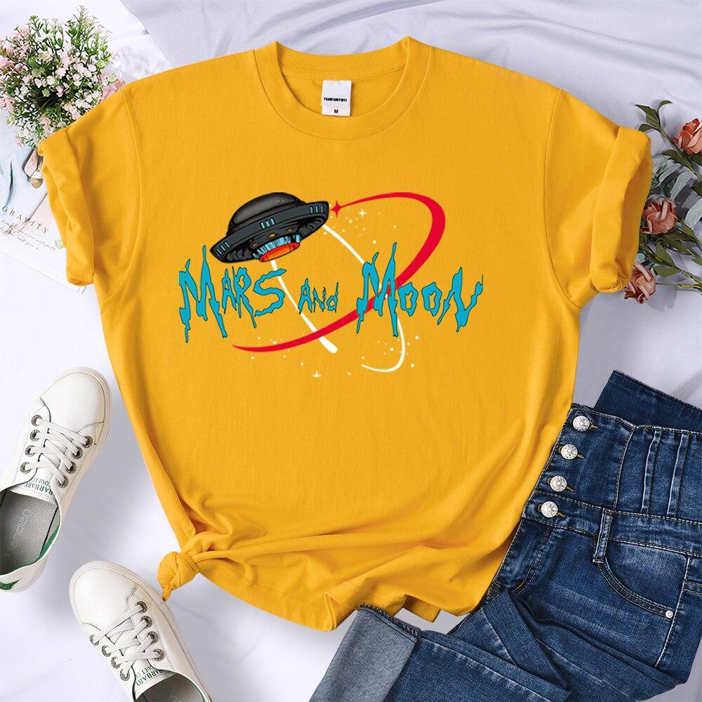 Женские футболки с принтом Mars And Moon, модная Повседневная стильная футболка, модные женские футболки с рисунком, женские футболки