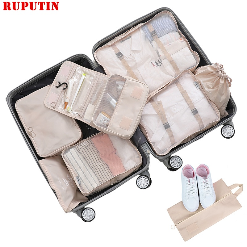 New 8Pcs/set Large Capacity Luggage Travel Bag Clothes Underwear Cosmetic Storage Bag Baggage Packing Suit Organizer Wash Bags etya cute travel bags cosmetic bag multifunction men and women pvc luggage packing organizer large capacity clothes wash pouch