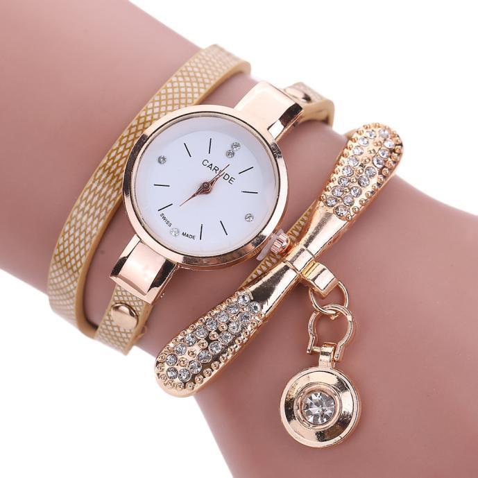 Hot Sale Ladies Watches Fashion Casual Bracelet Watch Women Leather Rhinestone Analog Quartz Watch C