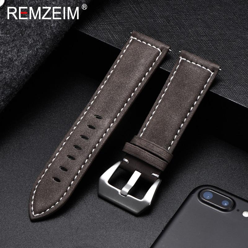 REMZEIM-Correa de cuero marrón Vintage para hombre y mujer, pulsera de repuesto,...