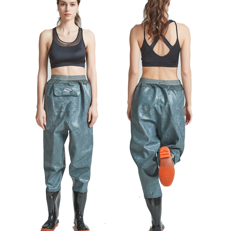 High-Jump 0.55mm Outdoor Fishing Waders Boots PVC Waterproof Knitted Fabric Mesh Waist Breathable Hunting Fishing Waders Pants enlarge