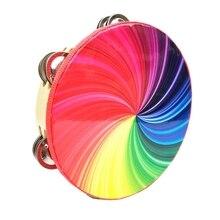 Pandereta de Color de doble hilera de percusión de 8 pulgadas pandereta arcoíris deslumbrante pandereta negra para actuaciones musicales