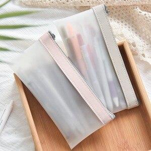 Pencil Case Office Student Pencil Cases Simple Transparent Mesh Nylon Kalem Kutusu School Supplies Pen Box Student Gift